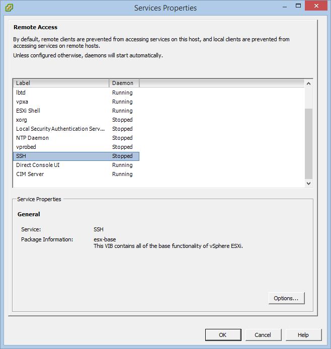 Abilitare la shell SSH su host ESXi