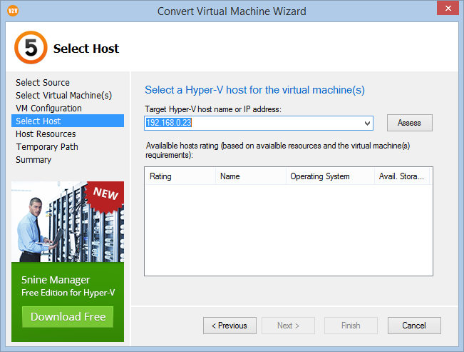 Conversione da ESXi vSphere a Microsoft Hyper-V