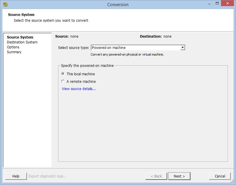 Conversione macchina fisica a virtuale (p2v) con VMware vCenter Converter