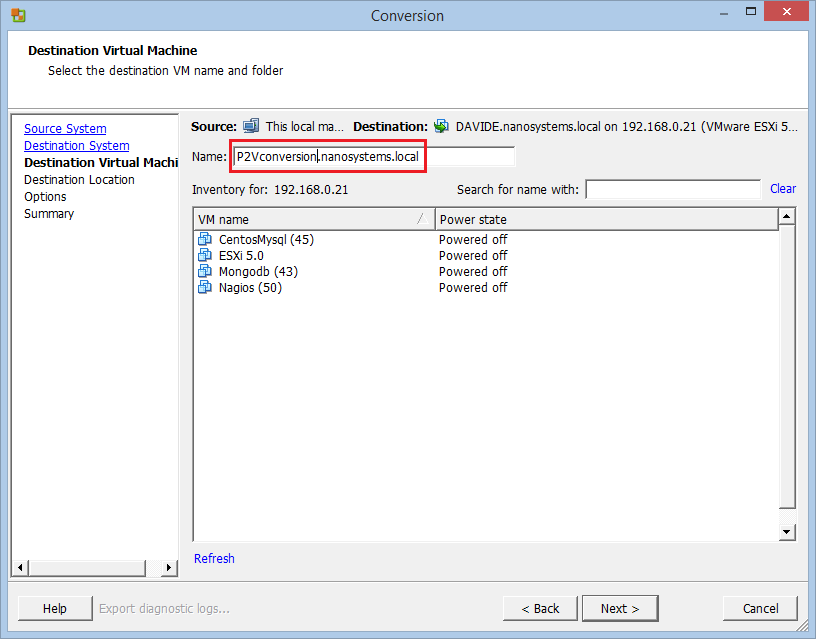 P2V conversion with VMware vCenter Converter