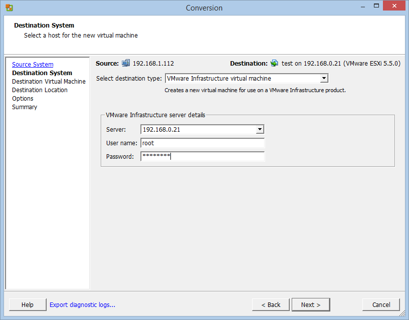 Microsoft Hyper-V to VMware ESXi VM conversion with VMware vCenter Converter