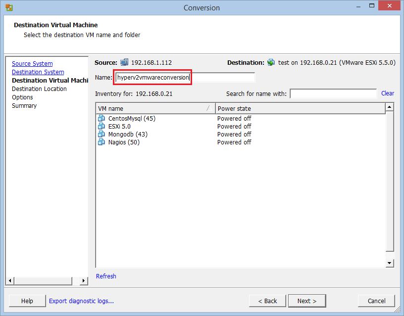Conversione VM da Hyper-V a ESXi vSphere con VMware vCenter Converter