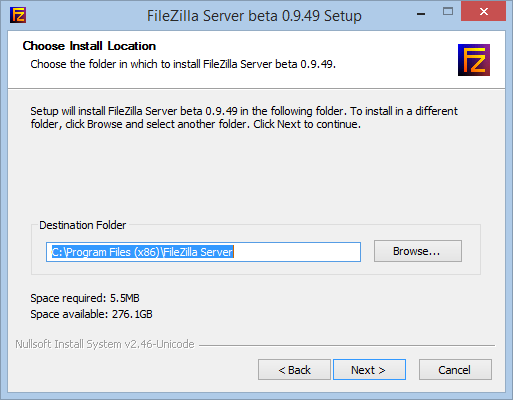 Install and configure a FileZilla FTP Server