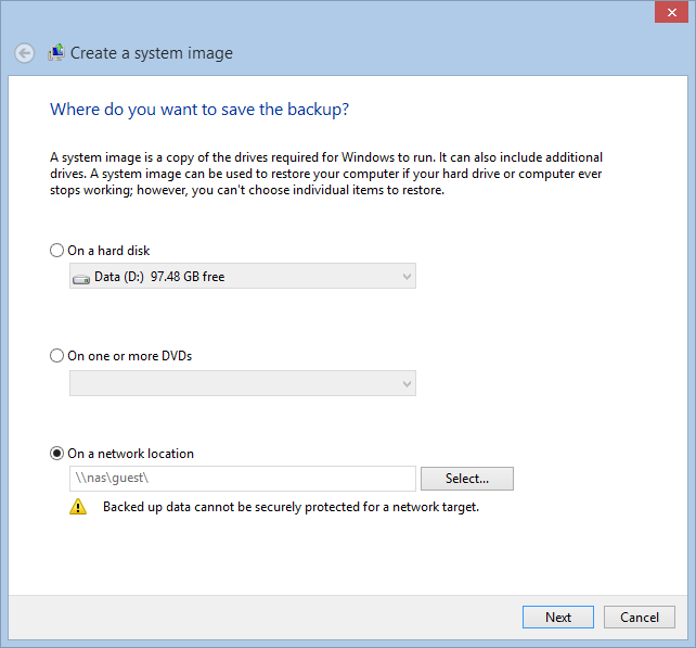 System Image Backup in Windows 10 e 8.1