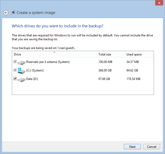 System Image Backup on Windows 8.1