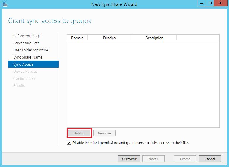 Set up a Work Folder Sync Share on Windows Server 2012 R2