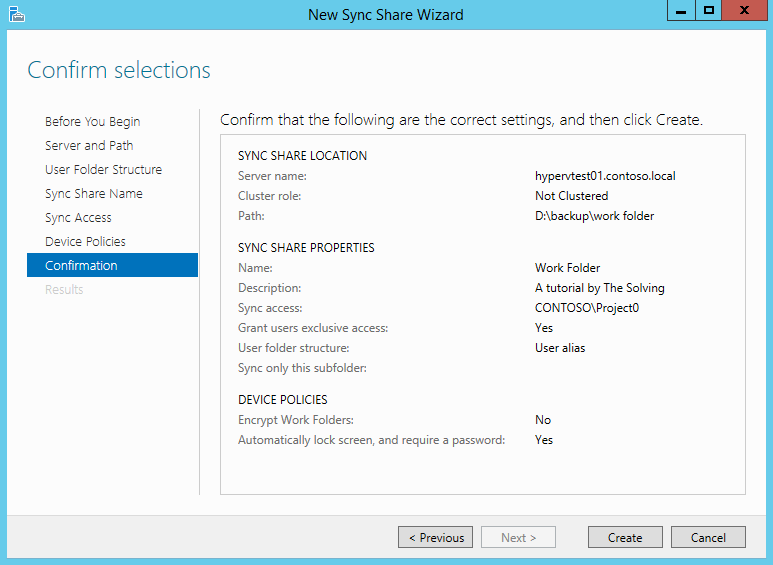 Set up a Work Folder Sync Share on Windows Server 2012 R2
