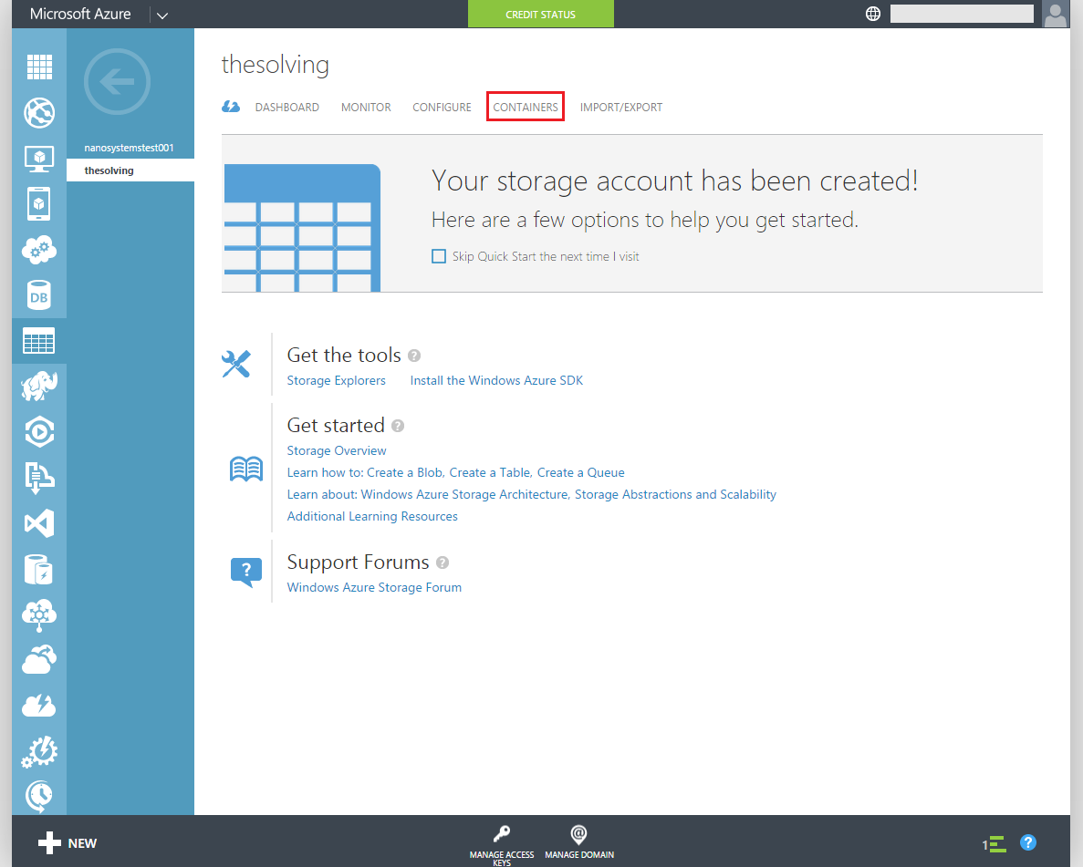 How to create an object storage container with Azure cloud
