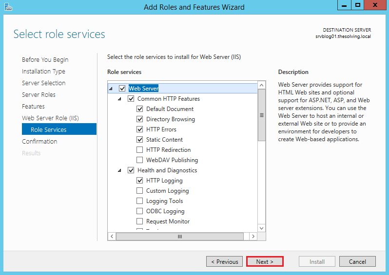 to install and configure IIS on Windows Server 2012 R2