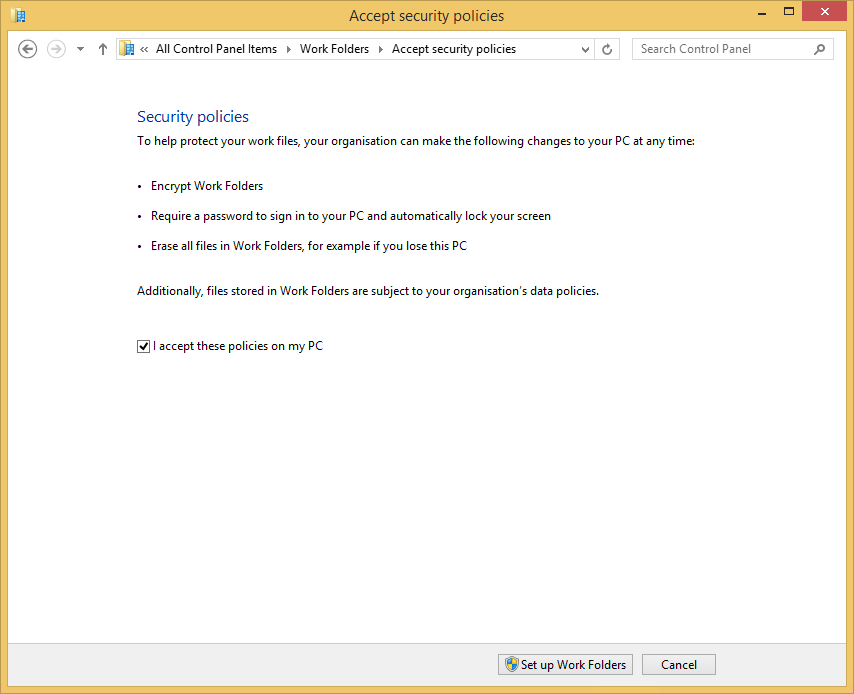 How to connect a Windows 8.1 client to a Work Folders Sync share