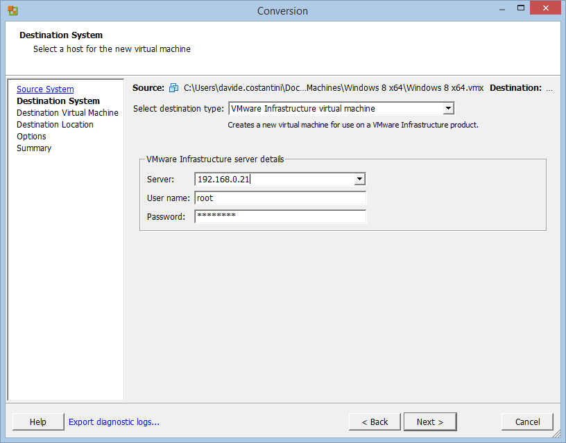 How to convert a VMware Workstation VM into an ESXi one