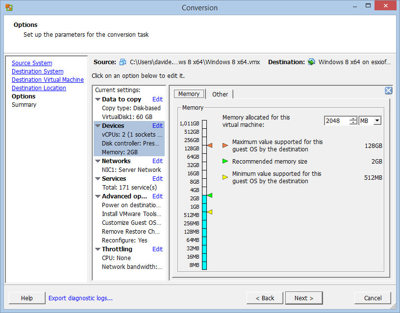 How to convert a VMware Workstation VM into an ESXi one with vCenter Converter