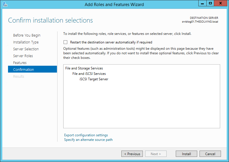 How to create an iSCSI target on Windows Server 2012