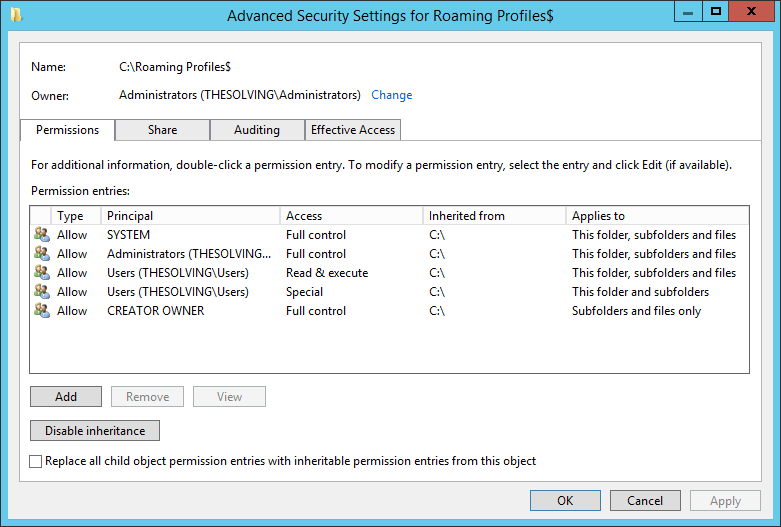 How to enable Roaming Profiles on Windows Server 2012 R2