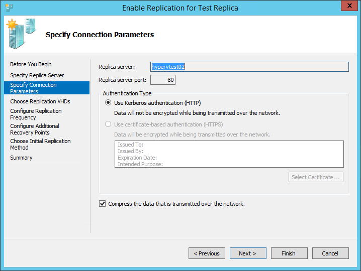 How to configure virtual machine replication on Hyper-V