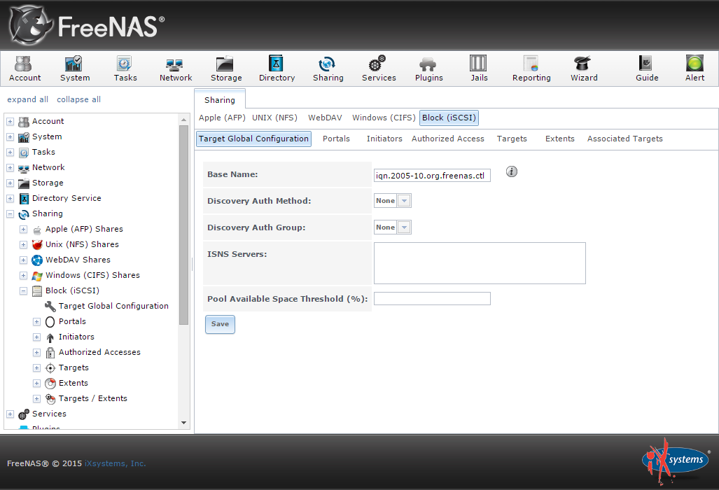 How to create an iSCSI target with FreeNAS