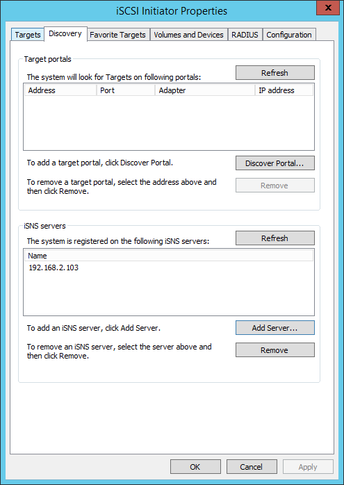 How to install and configure a iSNS server on Windows 2012 R2