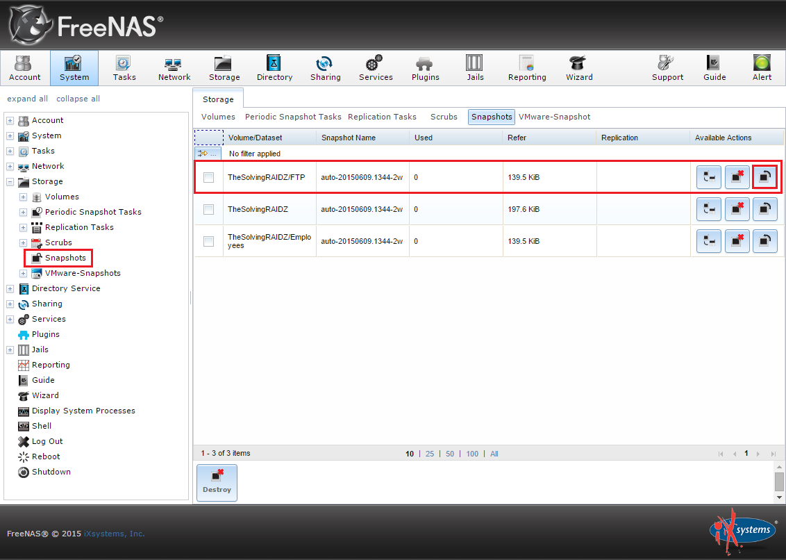 How to schedule automatic snapshots of a ZFS volume with FreeNAS