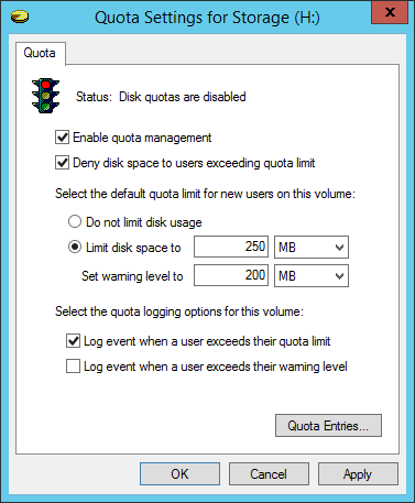 Configuring NTFS quotas to set storage limits for users