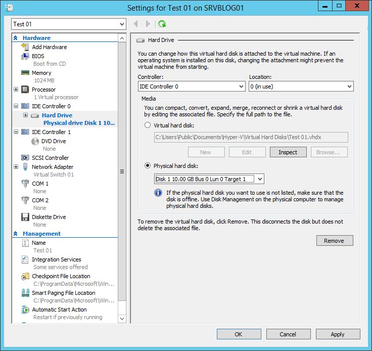 How to configure a pass-through disk with Hyper-V