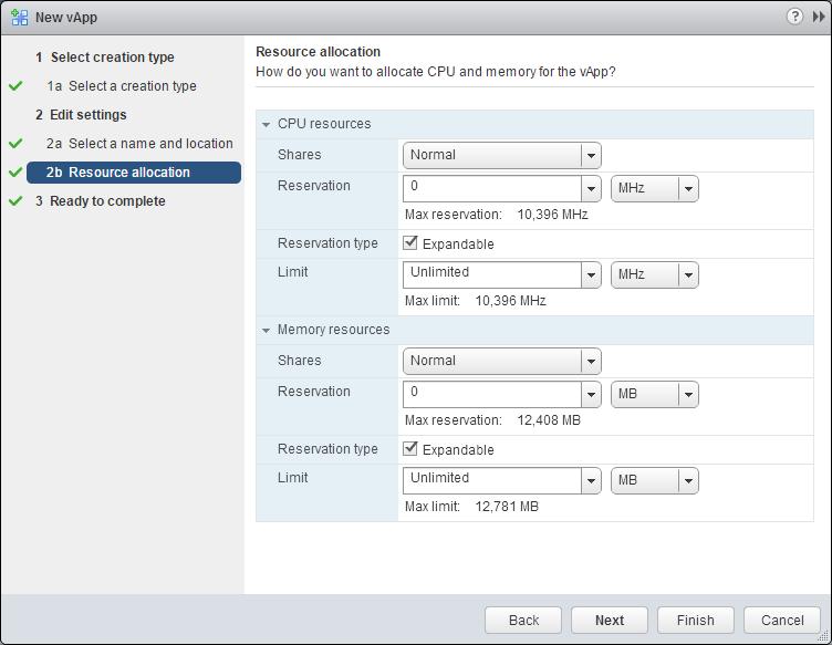 Creating a vApp on VMware vSphere