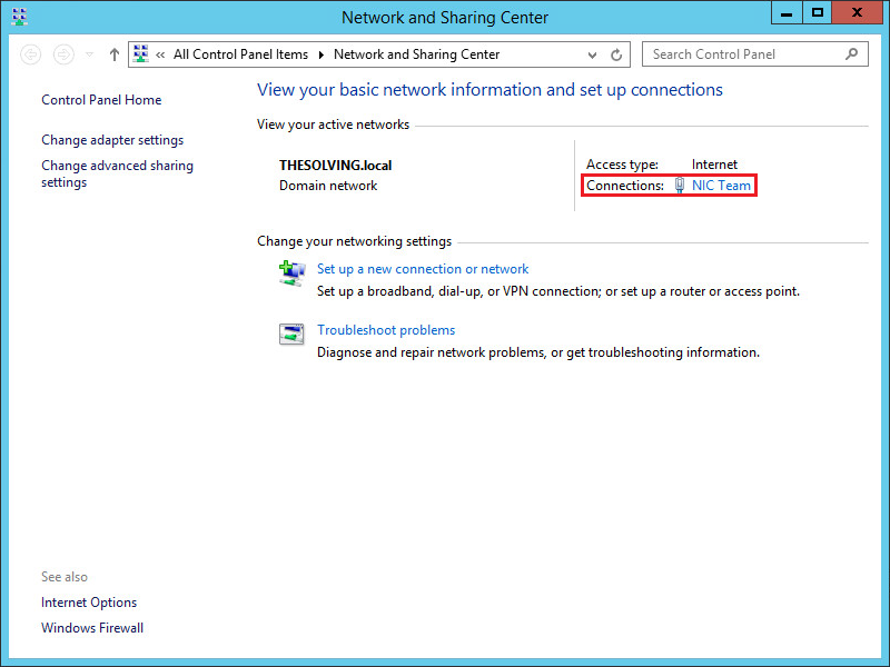How to configure NIC Teaming on Windows Server 2012