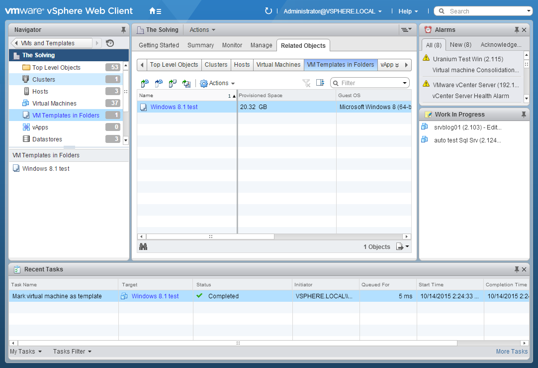 to create a Template from a VM on VMware vSphere