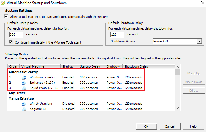 How to configure virtual machines automatically start and stop on VMware Esxi