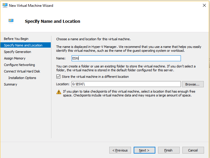 Hyper-V - Specify Name and Location