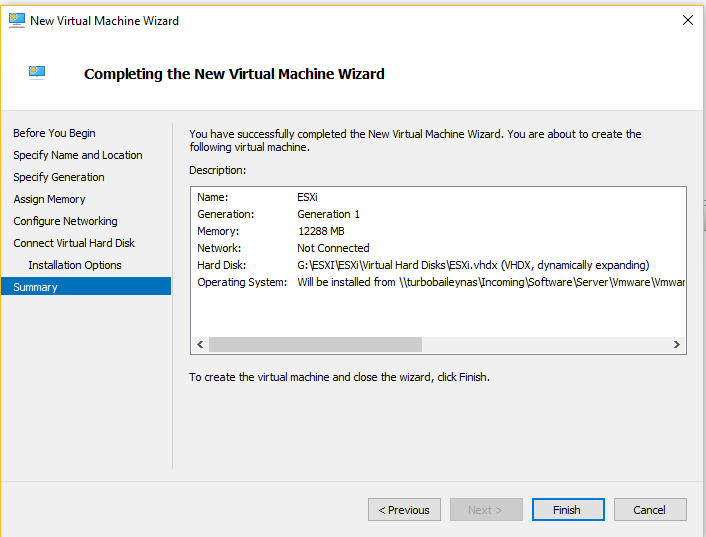 Hyper-V - Complete the New Virtual Machine Wizard