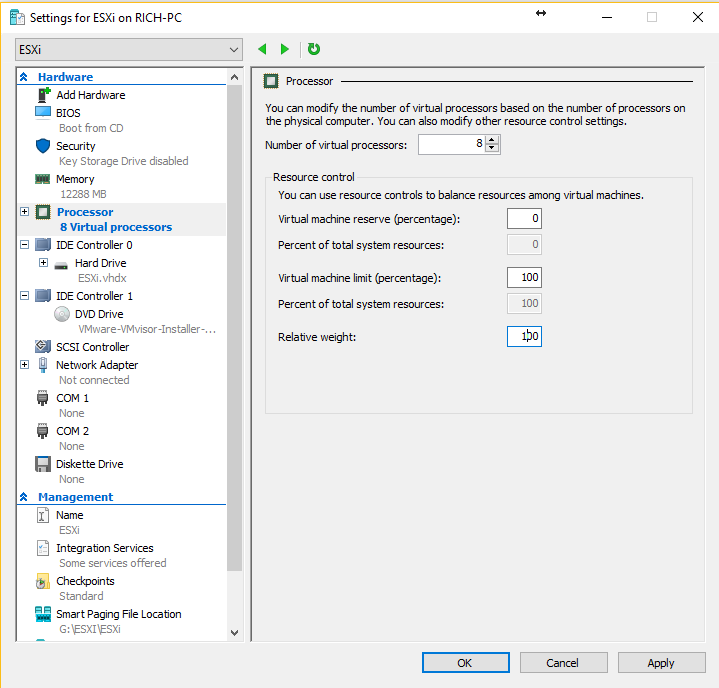 Hyper-V - Change CPU settings