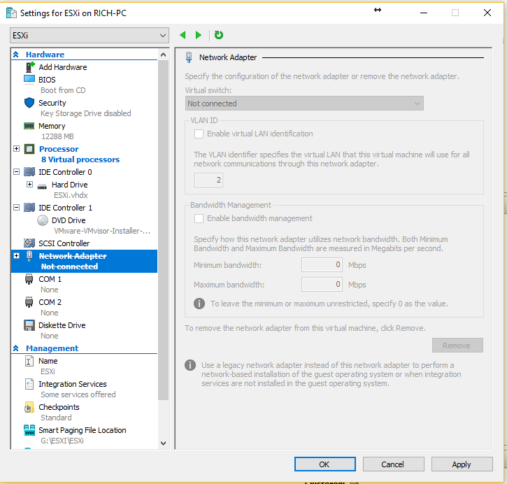 Hyper-V - Remove Network Adapters