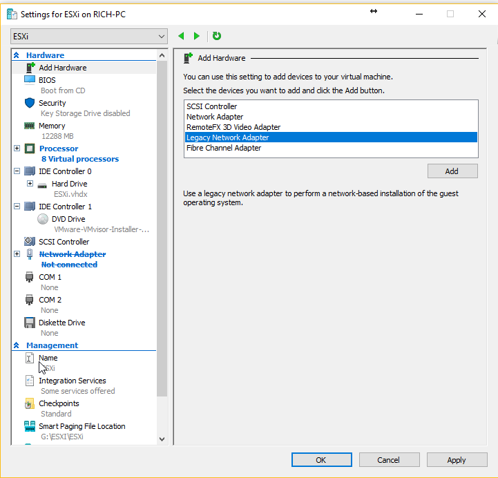 Install VMware ESXi on a Hyper-V | The Solving