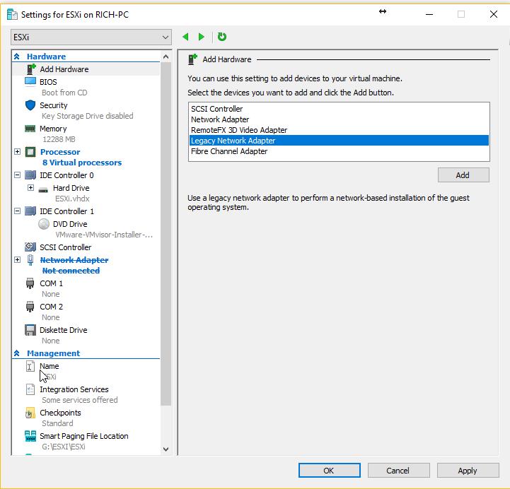 Hyper-V - Add Legacy Network driver