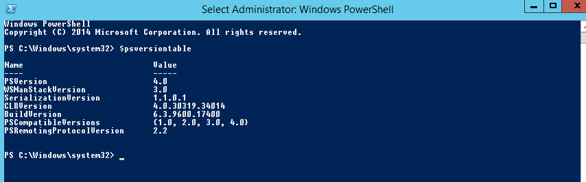 Powershell check $psversiontable