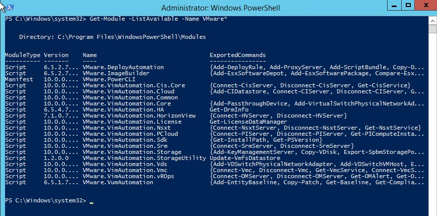 PowerCLI - install modules check get-module -list available -name VMWare*