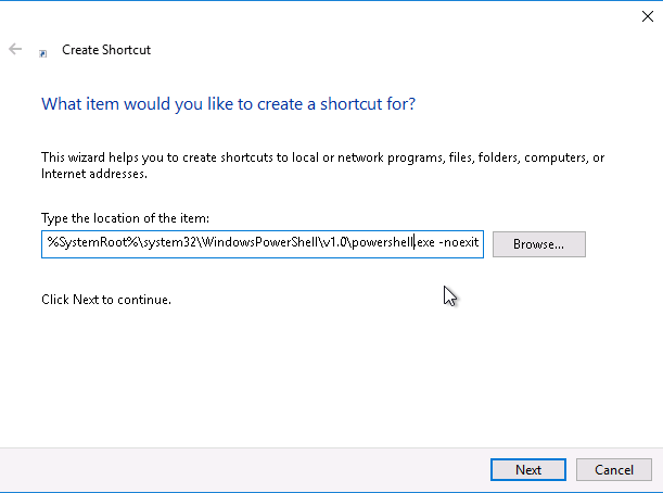 PowerCLI - create shortcut location