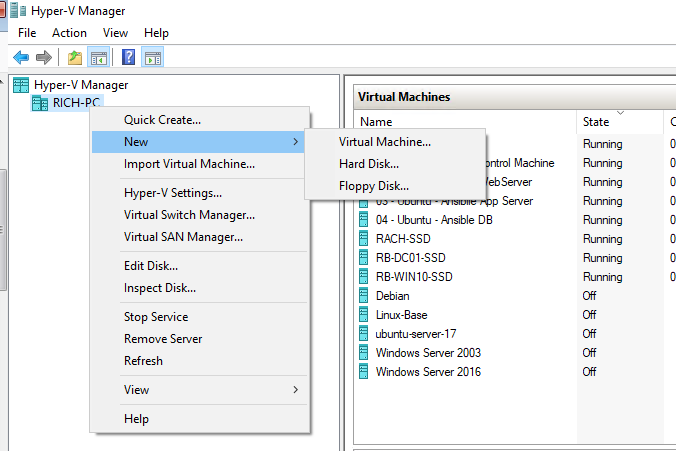 Hyper-V Create Virtual Machine