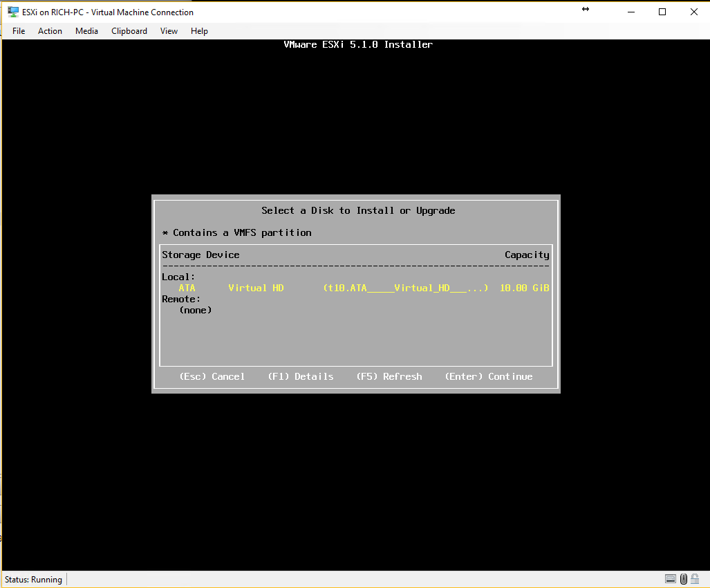 Installing ESXi select hard disk to install too