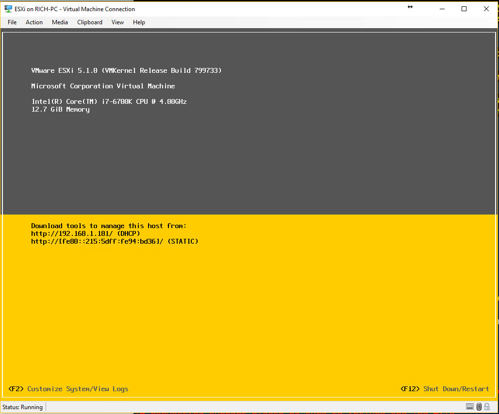 Esxi Installed on Hyper-V with networking enabled