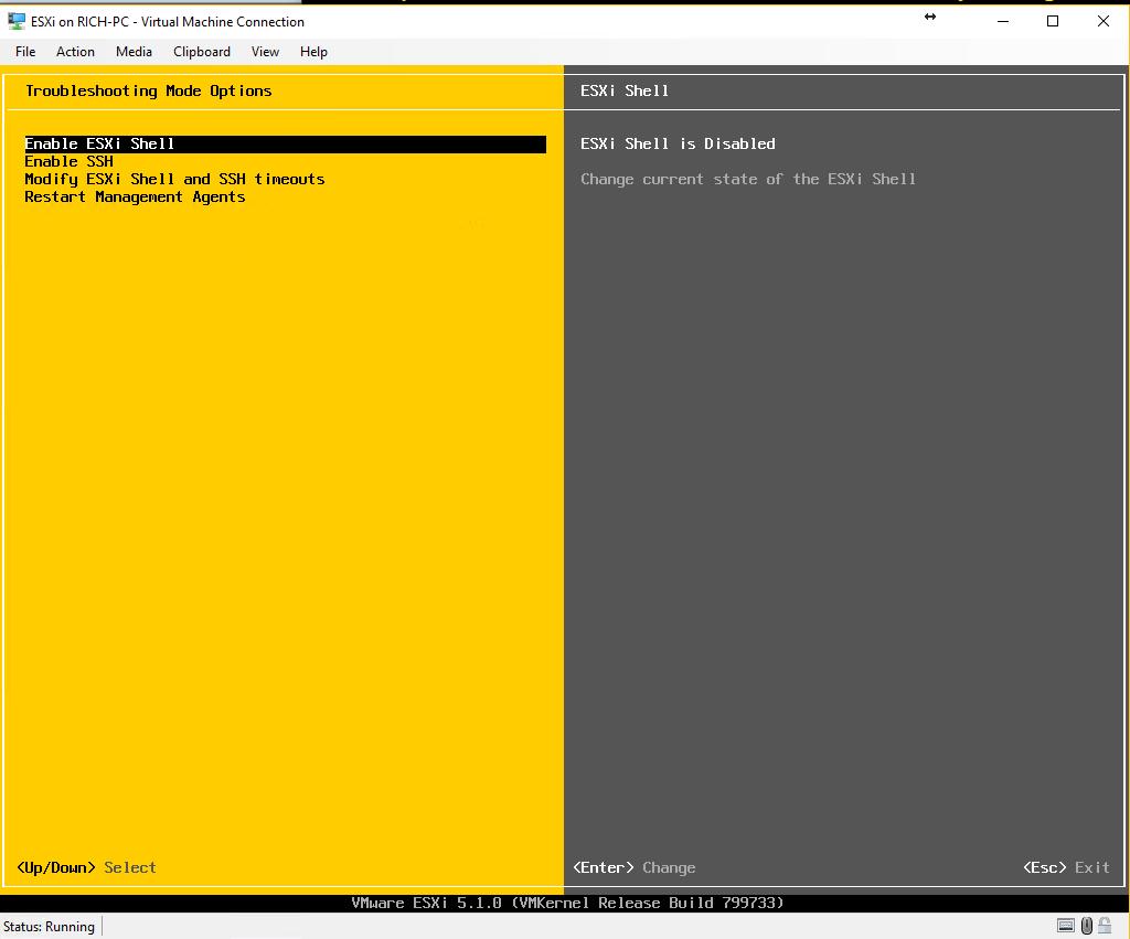 ESXi - enable ESXi Shell