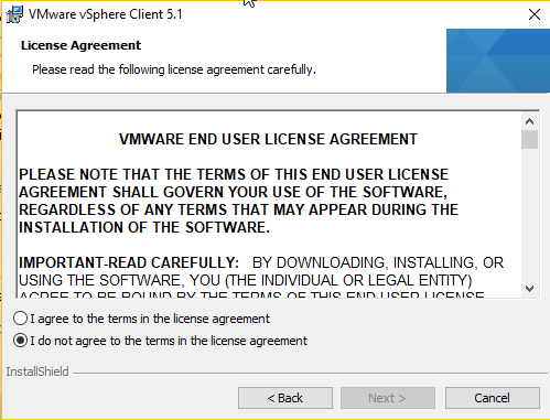 vSphere - Installation licence page