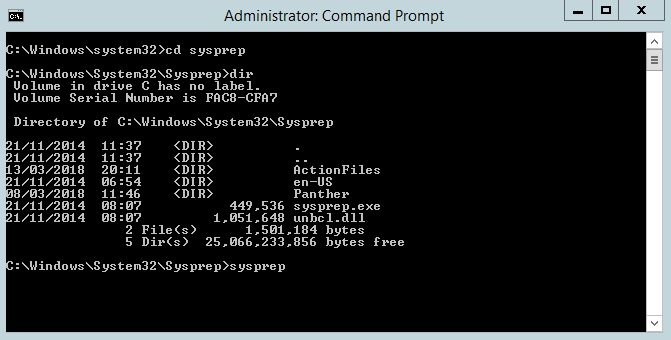 Command Prompt Using sysprep