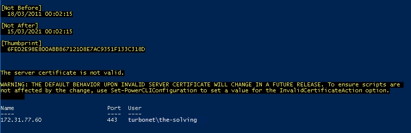 PowerCLI - connect-viserver connected