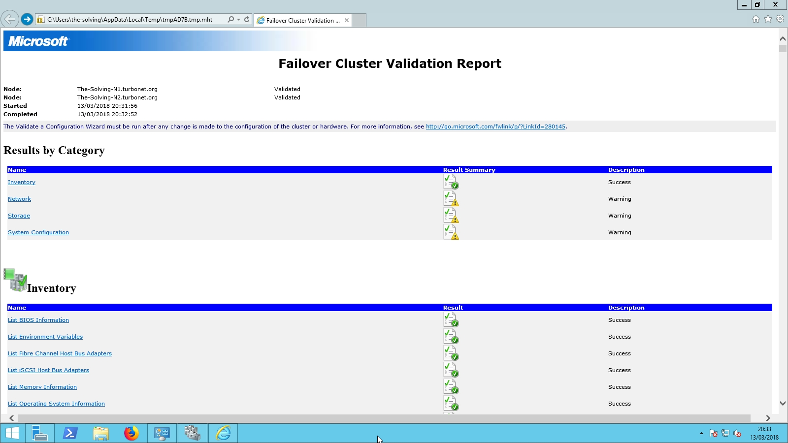Failover Cluster Manager - validate cluster report