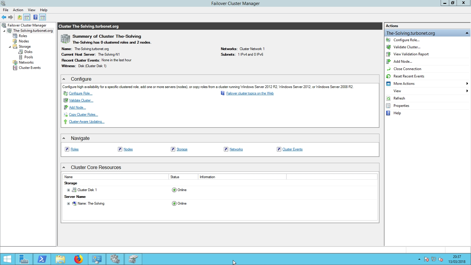 Failover Cluster Manager - Setup completed
