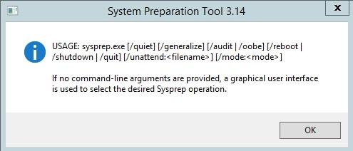 sysprep command line help