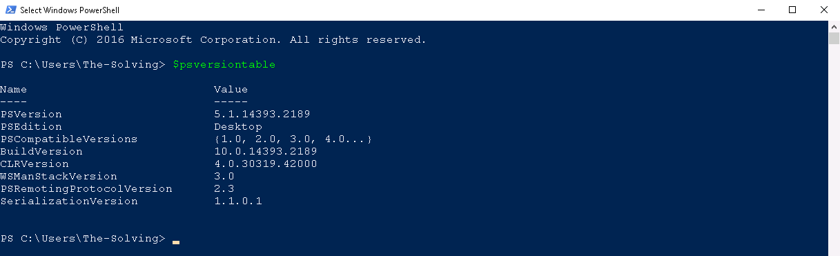 Powershell - PSVersiontable